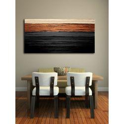 Bardzo elegancki obraz do salonu grubo fakturowany - czerń i miedź Akryl