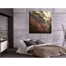 Nowoczesny obraz abstrakcyjny - metaliczne zagniecenia Obrazki i obrazy