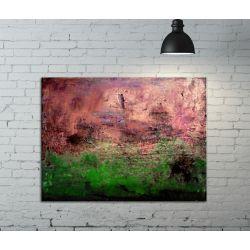 Zieleń w miedzi - abstrakcja na płótnie / obrazy do salonu Akryl