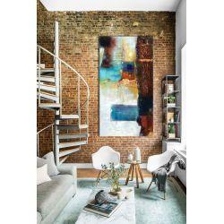 barwna mozaika - abstrakcyjny obraz na ścianę 80x170cm | obrazy do salonu Akryl