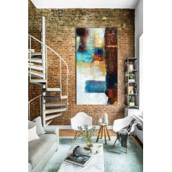 barwna mozaika - abstrakcyjny obraz na ścianę 80x170cm | obrazy do salonu Obrazki i obrazy