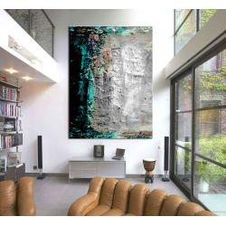 Turkusowo szara abstrakcja - Modny obraz na ścianę | obrazy do salonu Obrazki i obrazy