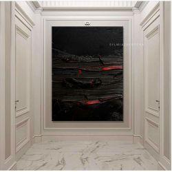 Stylowe obrazy do salonu - strukturalna czern Obrazki i obrazy
