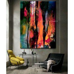 Kolorowa awangarda obrazy do salonu nowoczesnego Akryl