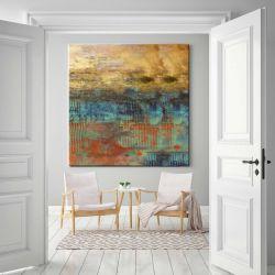Abstrakcja ze złotem - abstrakcyjne obrazy do modnego salonu Akryl