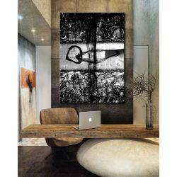 Popielato czarna abstrakcja - abstrakcyjne obrazy do modnego salonu Akryl