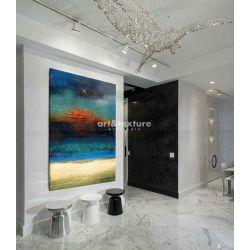Morska struktura - abstrakcyjne obrazy do modnego salonu Malarstwo