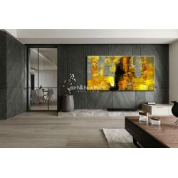 Żółto szare złudzenie - abstrakcyjne obrazy do modnego salonu Akryl