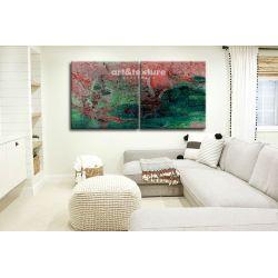 Intensywna abstrakcja dyptyk - abstrakcyjne obrazy do modnego salonu Malarstwo