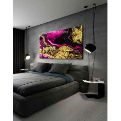 Złocona fuksja - abstrakcyjne obrazy do modnego salonu Malarstwo