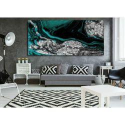 Szmaragd w srebrze - abstrakcyjne obrazy do modnego salonu Akryl