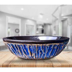BLUE LAGON - nablatowa umywalka artystyczna ręcznie wykończona Antyki i Sztuka
