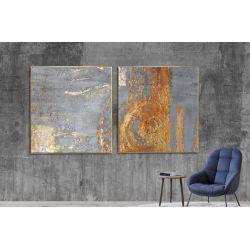 Złoty akcent dyptyk - Wielkoformatowy obraz na płótnie abstrakcyjny art&texture® Antyki i Sztuka