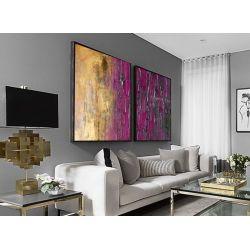 Złoto-fioletowy dyptyk - OBRAZ MIESIĄCA - jedna sztuka w tej cenie Akryl