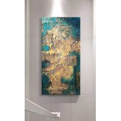 NOBLE EMERALD - Wielkoformatowy obraz na płótnie abstrakcyjny art&texture™ Antyki i Sztuka
