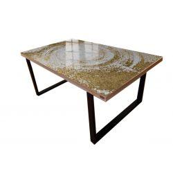 WHITE SYMPHONY - Stół do jadalni ze złotą strukturą Pozostałe