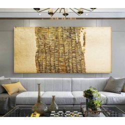GOLDENFALL - Wielkoformatowy obraz na płótnie abstrakcyjny art&texture™ Antyki i Sztuka