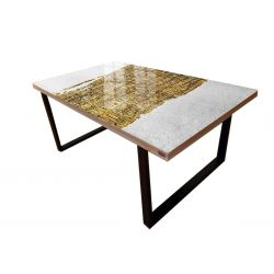 FABULOSO - Stół do jadalni ze złotą strukturą Akryl