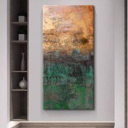 PEARL GREEN - obraz w soczystych kolorach zieleni butelkowej ręcznie malowany z mocną strukturą Antyki i Sztuka