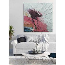 ROSSO - obraz z grubą strukturą w soczystych barwach abstrakcja do salonu Antyki i Sztuka