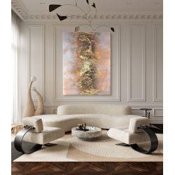 SALMON MIST - obraz strukturalny z nowoczesnym motywem złotej struktury otoczonej łososiową mgiełką Antyki i Sztuka