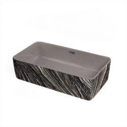 HERMOSA - betonowa umywalka nablatowa ze strukturalnym zdobieniem metalicznym Meble