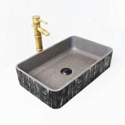 METALIC WATERFALL - betonowa umywalka nablatowa ze strukturalnym zdobieniem metalicznym Meble