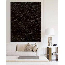 BLACK OCEAN - Dystyngowany obraz z czarnymi eleganckimi rzeźbieniami bardzo efektowna dekoracja ścienna strukturalna Antyki i Sztuka