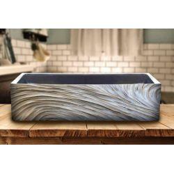 ELEGANT - betonowa umywalka nablatowa ze strukturalnym zdobieniem metalicznym Meble