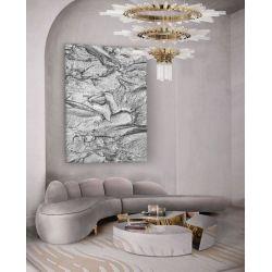 SILVER ROCK - wielkoformatowy obraz z metalicznym wykończeniem Antyki i Sztuka