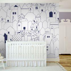 tapeta do pokoju dziecięcego - magiczne domki  Pokój dziecięcy