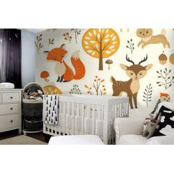 tapeta do pokoju dziecięcego - leśne zwierzątka Pokój dziecięcy