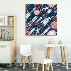 obrazy dla dzieci na płótnie - rakiety w kosmosie Pokój dziecięcy