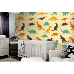 tapeta do pokoju dziecięcego - kolorowe dinozaury Pokój dziecięcy