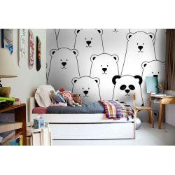 tapeta do pokoju dziecięcego - czarno biała panda Pokój dziecięcy