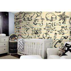 tapeta do pokoju dziecięcego - Rysunkowe zwierzątka Dekoracje i ozdoby