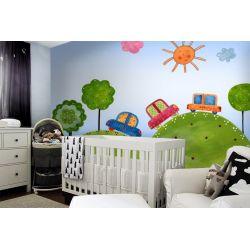 tapeta do pokoju dziecięcego - Kolorowe samochody Dekoracje i ozdoby