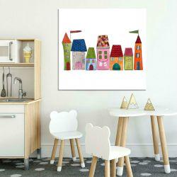 Obraz Dla Dzieci Kolorowe domki Dekoracje i ozdoby
