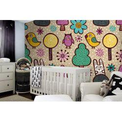 tapeta do pokoju dziecięcego - Sowy i króliczki