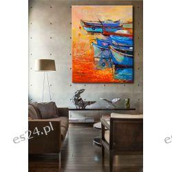 """obrazy malowane - nowoczesny obraz marynistyczny """"łódeczki"""" Obrazki i obrazy"""