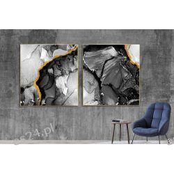 GLAM MARBLE - komplet 2 obrazów w stylu glamour do ekskluzywnych wnętrz Wyposażenie