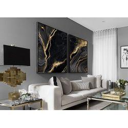 GOLDEN BLACK - komplet 2 obrazów w stylu glamour do ekskluzywnych wnętrz Wyposażenie