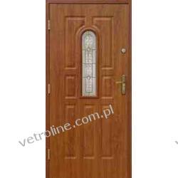 Drzwi zewnętrzne tłoczone z witrażem