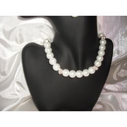 N-00007 Naszyjnik z perełek szklanych, białych  Naszyjniki