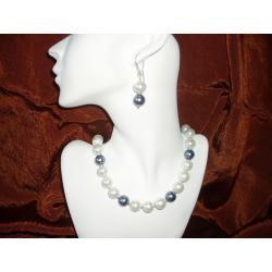 N-00011 Naszyjnik z perełek szklanych, białych i popielatych Naszyjniki