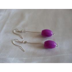 K-00083 Kolczyki fioletowymi baryłkami ze szkła