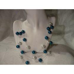 N-00039 Naszyjnik z perełek szklanych, turkusowych i białych Naszyjniki