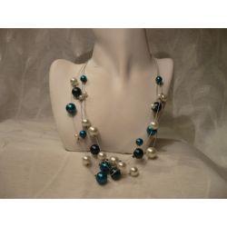 N-00040 Naszyjnik z perełek szklanych, turkusowych, białych i granatowych Naszyjniki