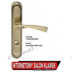 Klamka SLICK na szyldzie podłużnym 72mm mosiądz antyczny wersja z blokadą WC