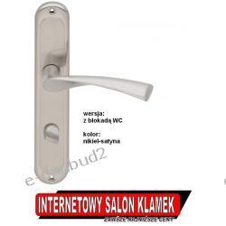 Klamka SLICK na szyldzie podłużnym 72mm nikiel satyna wersja z blokadą WC